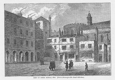 LONDON Part of the Inner Temple in 1800 - Antique Print 1892