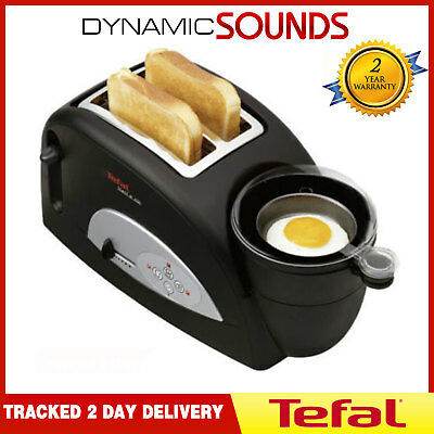 Tefal TT550015 Toast N' Egg 2 Slice Toaster Poached Boiled Cooker Black - New