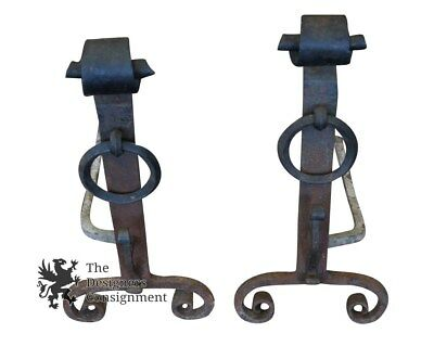 Antique 19th Century Hand Forged Cast Iron Andirons Chenet Fireplace Pair
