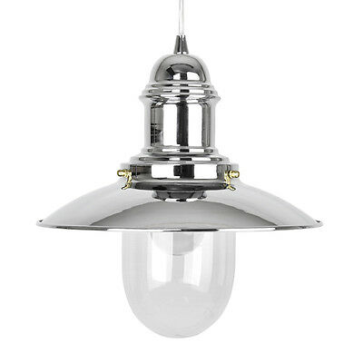 Modern Silver Chrome Metal Fishermans Ceiling Pendant Light Lamp / Glass Shade