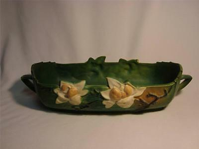 """Roseville Pottery Green Magnolia Console Bowl 452-14"""""""