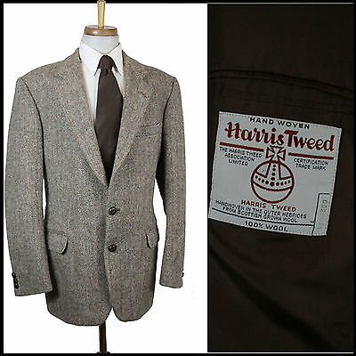 VINTAGE 1990s HARRIS TWEED SPORTS BLAZER HERRINGBONE SUIT CLASSIC MEDIUM 40