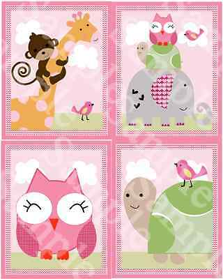 "A set of 4 Unframed ""Sprinkles Jungle / Girl Animals"" 8x10 Nursery Art Prints"