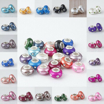 Mix Color Polymer Clay Crystal Rhinestone European Large Hole Beads Fit Bracelet