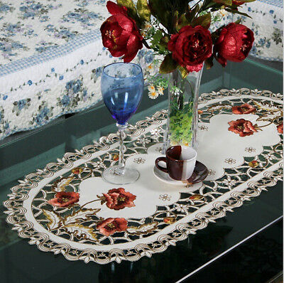 1 Embroidered Holiday Poinsettia Table Runner Cutwork Centre Piece Table Runner