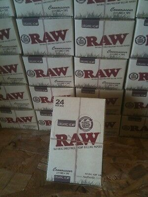 FULL BOX/24 pks RAW 1 1/4 size CONNOISSEUR - CLASSIC -  Rolling Papers with Tips