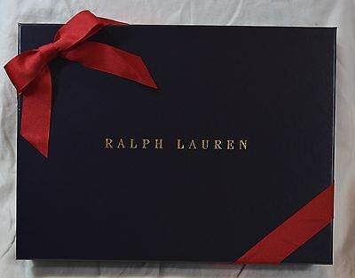 Ralph Lauren Navy Blue Medium Gift Box with Gold Logo & Red Bow