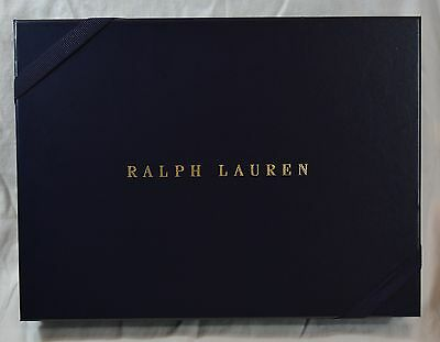 Ralph Lauren Navy Blue Medium Gift Box with Gold Logo & Band