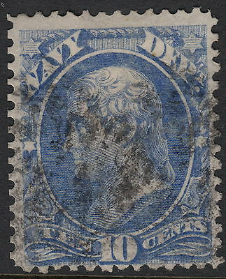 UNITED STATES OFFICIAL : 1873 10c NAVY stamp -SCOTT # O40 used
