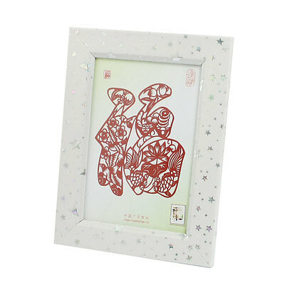 White Wooden Picture Frame Chinese Characters Fu Red Framed Paper Cut Crafts