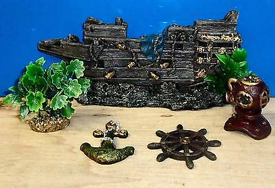 Aquarium Ornaments Galleon 5 piece Set Air Bubbler Fish Tank Decoration New