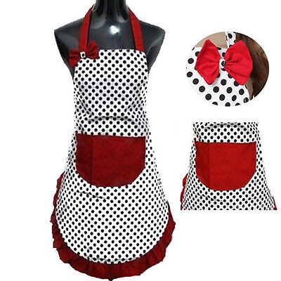 Cute BowKnot Dot Women Kitchen Restaurant Bib Cooking Aprons With Pocket Gift
