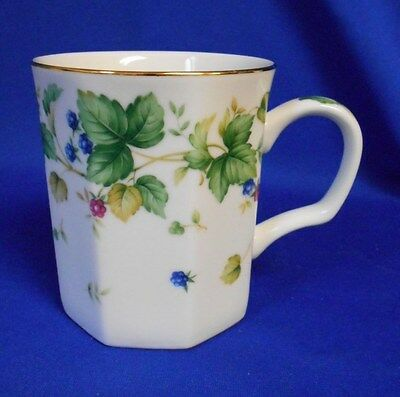 Coffee Tea Mug Cup Andrea by Sadet Octagonal Gold rim Floral 3 1/2""