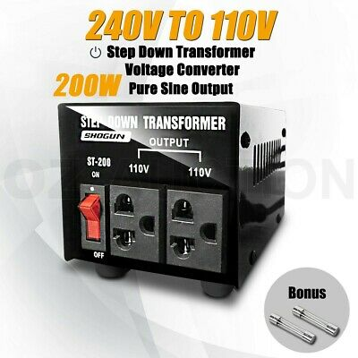 200W Step Down Transformer & Voltage Converter With Output 2 Plugs