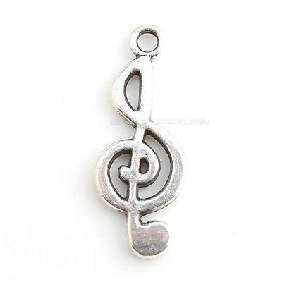 50x 143701 Wholesale Vintage Silvery Musical Notes Charms Alloy Pendants Lots