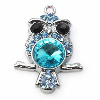 8x 144130 Wholesale Blue Rhinestone Silvery Owl Animal Charms Alloy Pendant