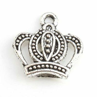 200x 143728 New Wholesale Vintage Silvery Crown Charms Alloy Pendants Lots