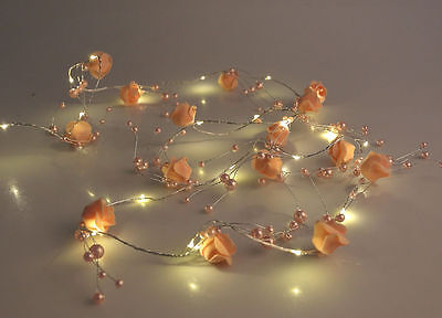 2m PEACH Wired ROSE & PEARL  Garland Spray Floral LED Hanging Decoration