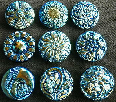 "Collection of 9 Czech ANTIQUE (1920's) Glass Buttons #D354 - 22 mm - 7/8"" - RARE"