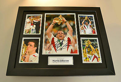 Martin Johnson Signed Photo Large Framed England Rugby Autograph Display + COA