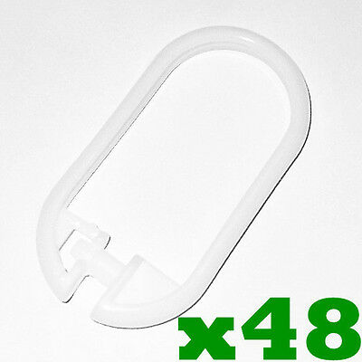 48 x WHITE Bathroom Bath Shower Curtain Rings Hooks Plastic Snap On Lock Clips