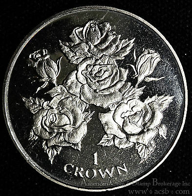 Gibraltar 1 Crown 1996 Gem BU PL 1C UK Britain Elizabeth II Roses Buds.