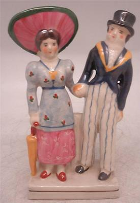 Staffordshire Pottery Figure - 'The Dandies' Man & Wife