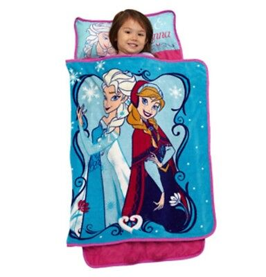 NEW Disney FROZEN NAP MAT Blanket+Pillow Preschool Daycare Toddler Anna+Elsa Set