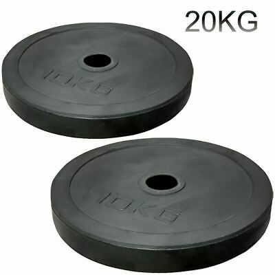 "2"" Olympic Rubber Coated Plates 30kg Weight Lifting Disc Pair Gym Bar 5cm"