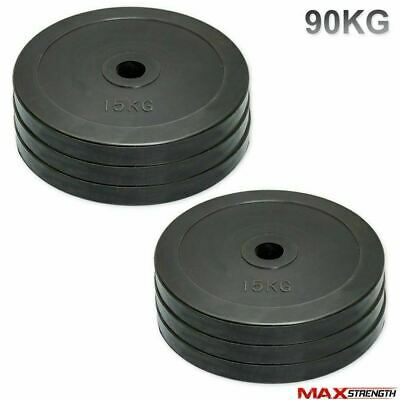 "Powerlifting 2"" Olympic Rubber Disc Weight Plates Fitness Training 90kg"