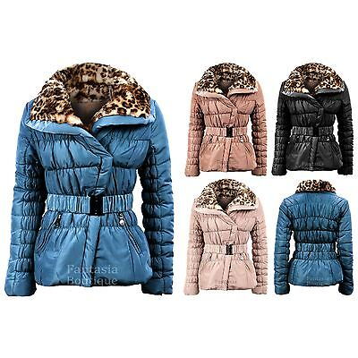 Ladies Belted Padded Quilted Wide Collar Leopard Fur Womens Winter Jacket 10-16