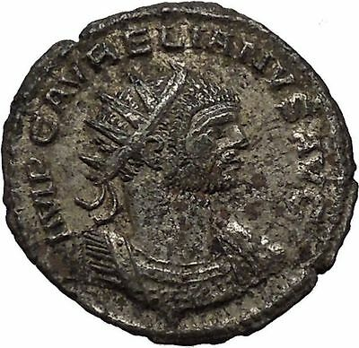 AURELIAN receiving wreath from woman 275AD Rare Ancient Roman Coin i46340