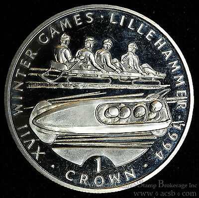 Gibraltar 1 Crown 1993 Gem Proof+ UK XVII Winter Olympics Lillehammer Bobsleddin