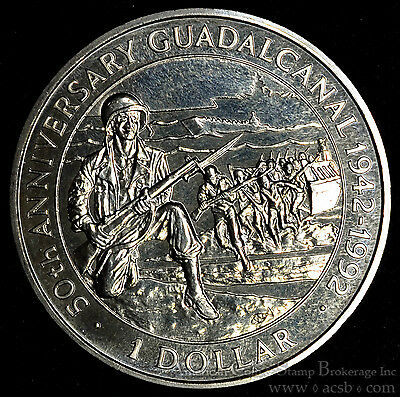 Solomon Islands 1 Dollar 1992 Gem BU PL UK $1 WWII 50th Anniv Guadalcanal Battle