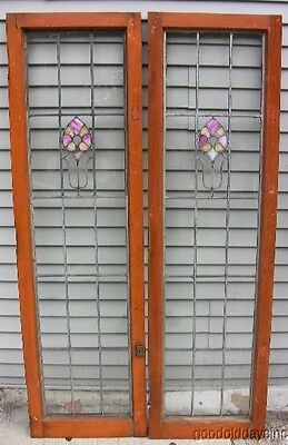 "Large Stained Glass & Leaded Glass Door From Chicago 62"" by 18"" Nice Wood Frames"