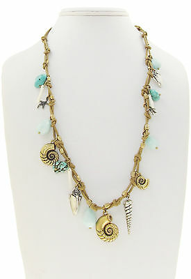 LUCKY BRAND Sea Life Seashell Starfish Charm Turquoise Nugget Leather Necklace