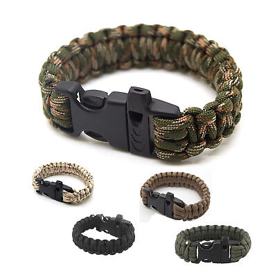 Emergency Outdoor Survival 550lbs Paracord Bracelet with Whistle - Desert Camo