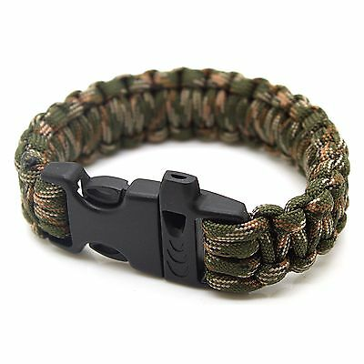 Emergency Outdoor Survival 550lbs Paracord Bracelet with Whistle - Camo Green