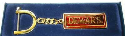 Excellent NEW Dewar's White Label Enameled Keychain! Red & Gold