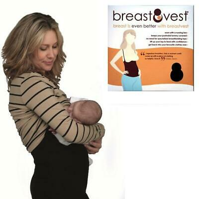 BreastVest Nursing Top - MEDIUM 12-14 (Black) Maternity Clothing for Mum