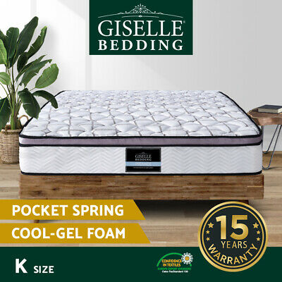 King COOL GEL Mattress Memory Foam Euro Top 5 Zone Pocket Spring Bed Size