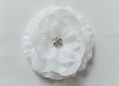 1PC Women Girls Party Dance White flower Wedding Bride Bridal Hair head Clip Pin