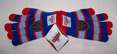 Disney Pixar Cars Boys Blue Red Stripe Acrylic Gloves Size 7 - 10 New