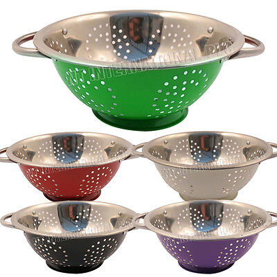 24Cm Stainless Steel Colander Pasta Spaghetti Strainer Salad Food Fruit New