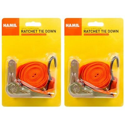 "2 x Ratchet Tie Down Straps 15' X 1"" Quick Release Coated Hooks Secure Cargo"