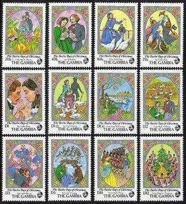 12 Days of Christmas Gambia #702 Mint NH Complete 12 diff Topicals $14.50 retail