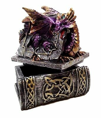 Guardian Of The Book Of Knowledge Purple Dragon Jewelry Box Sculpture Figurine