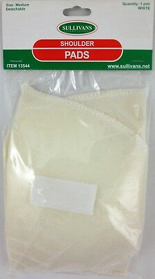 Medium White Sew-In or Detachable Shoulder Pads