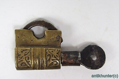 Vintage Brass Padlock *iron Working Key* German Antique - # 2