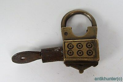 Vintage Brass Padlock *iron Working Key* German Antique - # 3